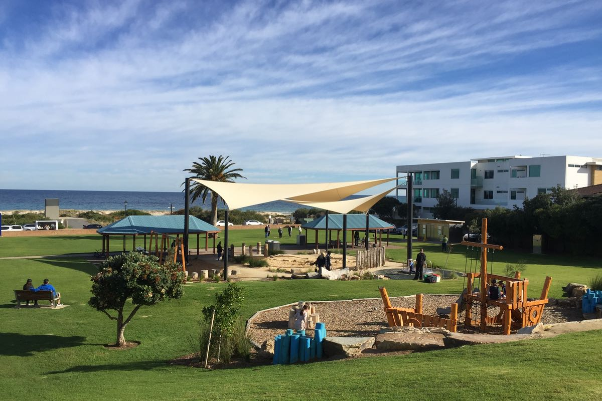 shade sail structure brighton angus neill reserve playground community facility city of holdfast bay sa