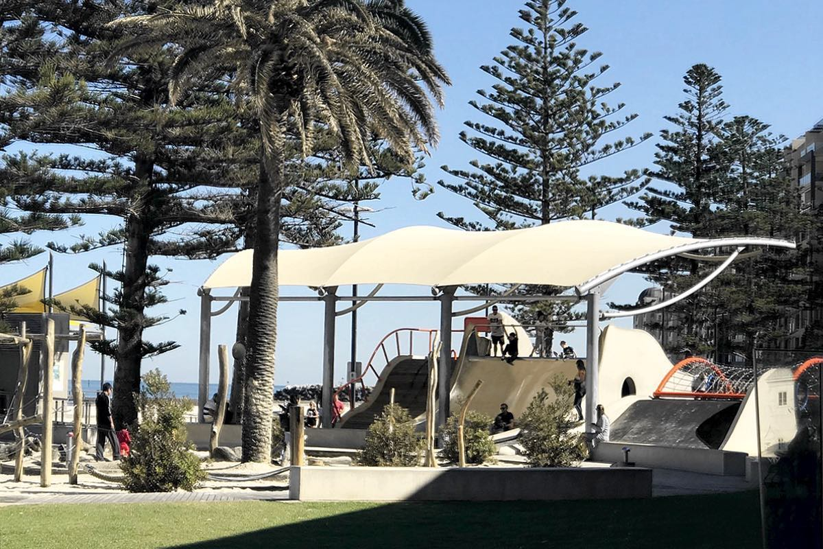 Cantilever shelter shade structure Glenelg Foreshore Playground Moseley Square City of Holdfast Bay SA