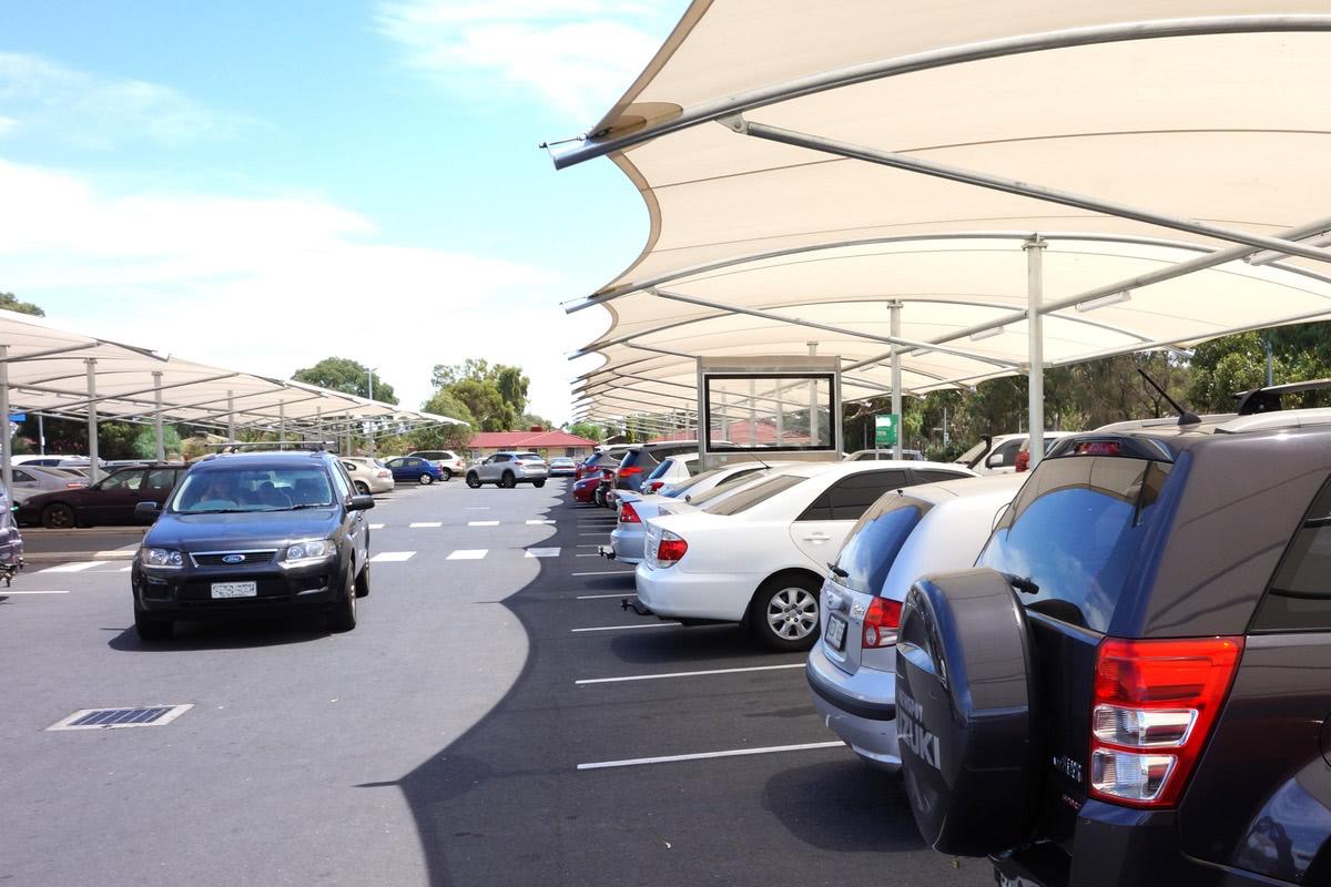 shade fabric structure car park structure Springbank Plaza Burton City of Salisbury SA