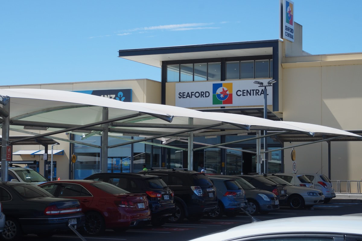 car park shade structures Seaford Central shopping centre SA