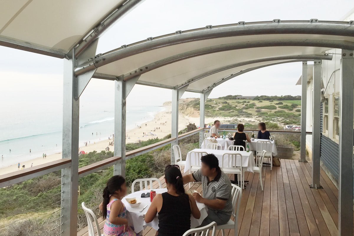 Custom shade structure PVC membrane Star of Greece restaurant shelter Port Willunga City of Onkaparinga