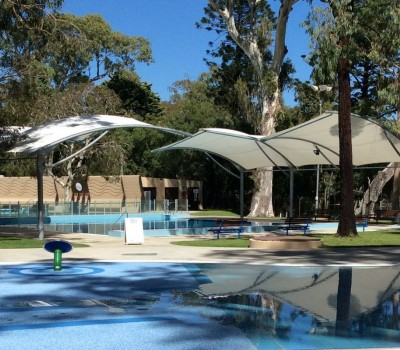 Cantilever shade structure George Bolton Swimming Centre City of Burnside SA