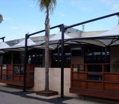 Permanent custom umbrella shade structure Tonsley Hotel City of Marion SA